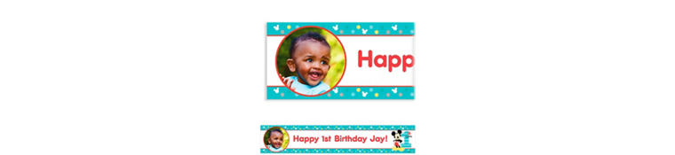 Custom Mickey's 1st Birthday Photo Banner