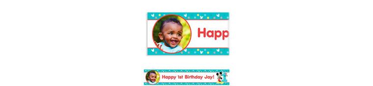 Custom Mickey's 1st Birthday Photo Banner