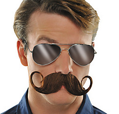 Brown Handlebar Moustache