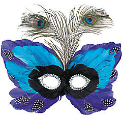Blue Butterfly Feather Mardi Gras Mask