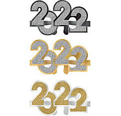 Glitter Black, Gold & Silver 2017 Glasses 6ct