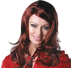 Sultry Premium Shoulder-Length Sangria Red Wig
