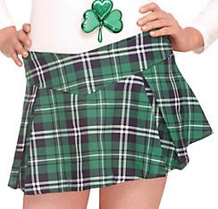 Adult Green Plaid Mini Skirt