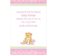 Precious Bear Pink Custom Birth Announcements