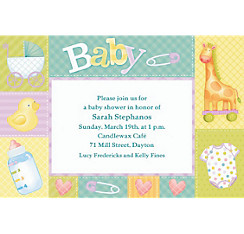 Pastel Patchwork Custom Baby Shower Invitation