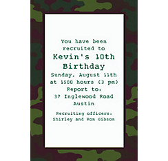 Camouflage Custom Invitation
