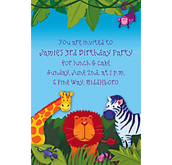 Jungle Animals Custom Invitation