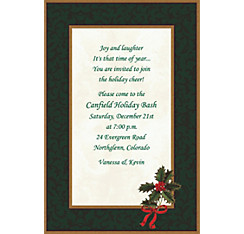 Classic Holly Custom Christmas Invitation