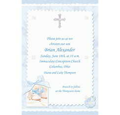 Tiny Blessing Blue Custom Invitation