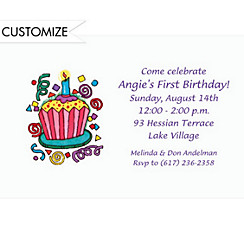 Party Cupcake Custom Invitation