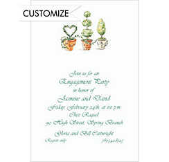 Potted Topiaries Custom Bridal Shower Invitation