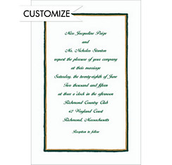 Green & Gold Lines Custom Invitation