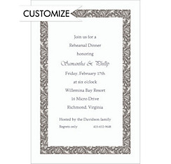 Gray Vine Border Custom Invitation