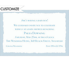 Blue Deckle Edge Custom Invitation
