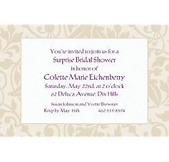 Taupe Damask Border Custom Invitation