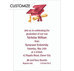 Custom Crimson Cap & Diploma Graduation Invitations