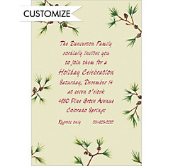 Pine Sprigs Custom Christmas Invitation