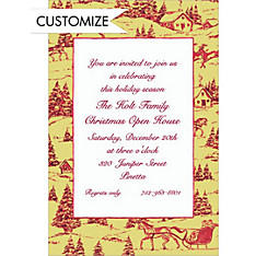 Holiday Toile Custom Christmas Invitation