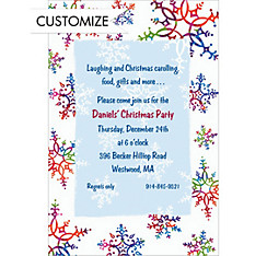 Festive Snowflakes Custom Christmas Invitation