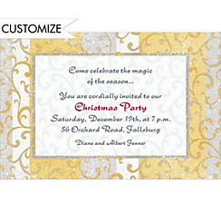 Gold Scroll on Stripe Custom Christmas Invitation