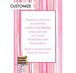 A Lady's Cake Custom Invitation