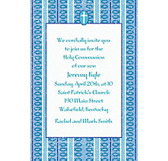 Cross with Blue Stripe Custom Invitation