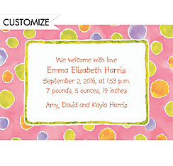 Watercolor Polka Dot Custom Birth Announcements