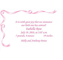Custom Pink Simple Ribbon Birth Announcements