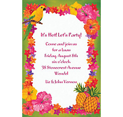 Hawaiian Flower Border Custom Invitation