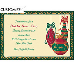 Painterly Ornaments Custom Christmas Invitation
