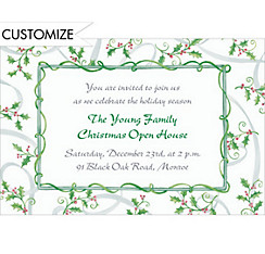 Sweet Tossed Holly Custom Christmas Invitation