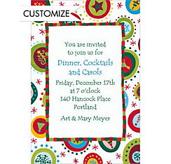 Holiday Objects in Circles Custom Christmas Invitation