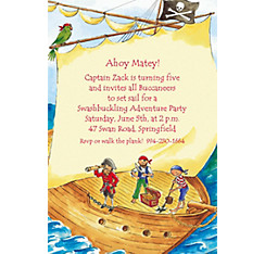 Pirate Ship with Flag Custom Invitation