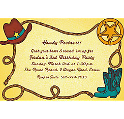 Little Cowboy Motif Custom Invitation