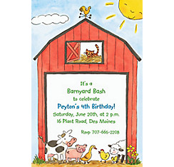 Barnyard Animals Custom Invitation