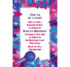 Rock Star Karaoke Custom Invitation