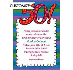 Big 50 Border Custom Invitation
