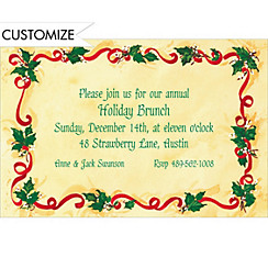 Holly & Ribbon Custom Christmas Invitation