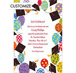 Custom Big Balloons Grad Party Graduation Invitations