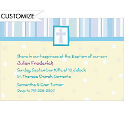 Cross with Patterns Blue Custom Invitation