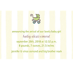 Custom Tiny Carriage on Stripe Birth Announcements