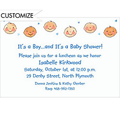 Baby Boy Heads Custom Baby Shower Invitation