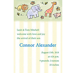Custom Tossed Animals & Stripe Birth Announcements