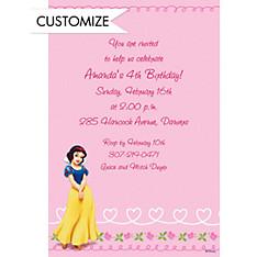 Snow White on Hearts & Swirls Custom Invitation