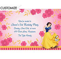 Snow White on Flower Pattern Custom Invitation