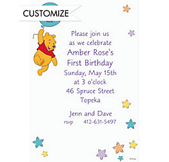 Pooh 1st Birthday Balloon Custom Invitation