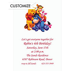 Pooh and Friends Custom Invitation