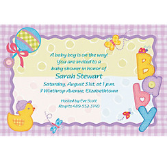 Hugs and Stitches Custom Baby Shower Invitation