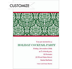 Holiday Damask Green Custom Christmas Invitation