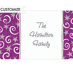 Stars and Swirls Purple Custom Christmas Thank You Note
